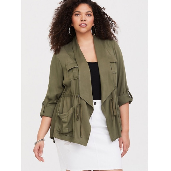 37973effbb61cc torrid Jackets & Coats | Nwt Olive Drape Front Twill Anorak Jacket ...